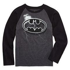 Long Sleeve Crew Neck Batman T-Shirt-Preschool Boys