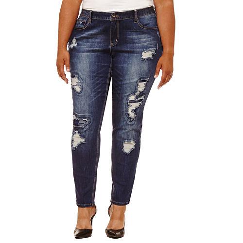 Boutique   31 Embellished Pocket Skinny Fit Jeans-Plus