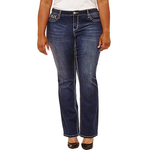 Boutique   31 Embellished Pocket Bootcut Jeans-Plus