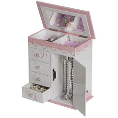 Pink & White Ballet Slippers Musical Jewelry Box