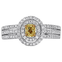 1 CT. T.W. White and Color-Enhanced Yellow Diamond Halo Ring