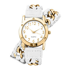 Decree® Womens Chain-Link White Strap Wrap Watch