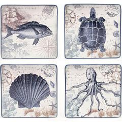 Certified International Coastal Postcards Set of 4 Dinner Plates