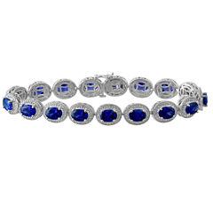Lab Created Blue Sapphire & Diamond-Accent Sterling Silver Bracelet