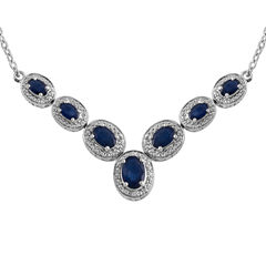 Lab Created Blue Sapphire Sterling Silver Necklace