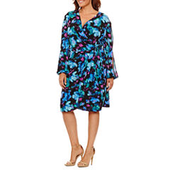 London Times Long Sleeve Floral Wrap Dress-Plus