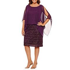 Ronni Nicole Short Sleeve Pattern Sheath Dress-Plus