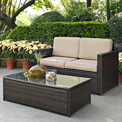 Palm Harbor 2-pc. Wicker Conversation Set With Cushions- Loveseat and Glass Top Table