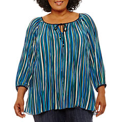 Lark Lane Fall Festival Tie Front Stripe Blouse-Plus