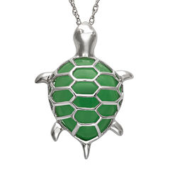 Pear-Shaped Green Jade and Sterling Silver Turtle Pendant Necklace