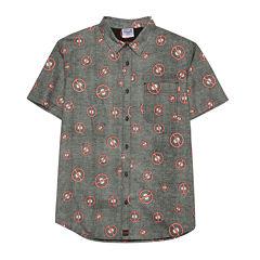 Deadpool Toss Pattern Short-Sleeve Button-Front Shirt