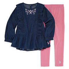 U.S. Polo Assn. 2-pc. Legging Set-Preschool Girls