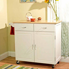 Large Wood Top Wood-Top Kitchen Cart