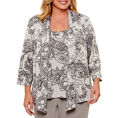 Alfred Dunner Arizona Sky 3/4 Sleeve Paisley Shimmer Layered Top- Plus