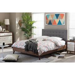 Baxton Studio Alinia Mid-Century Upholstered Walnut Wood Platform Bed
