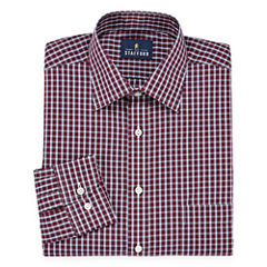 Stafford Travel Easy-Care- Big And Tall Long Sleeve Broadcloth Plaid Dress Shirt