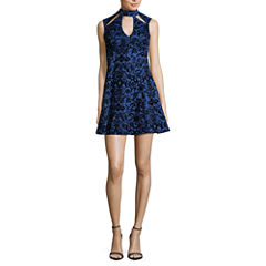 Trixxi Sleeveless Skater Dress-Juniors