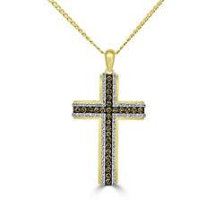 Mens 1 CT. T.W. White Diamond 10K Gold Pendant Necklace