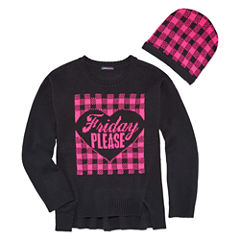 Limited Too Long Sleeve Graphic Sweater with Hat- Girls' 7-16
