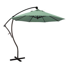 California Umbrella 9' Bayside Series Pacifica Cantilever Patio Umbrella With Bronze Aluminum Pole Aluminum Ribs 360 Rotation Tilt Crank Lift