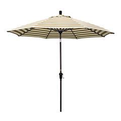 California Umbrella 9' Sunset Series Stripe Olefin Patio Umbrella With Bronze Aluminum Pole Aluminum Ribs Auto Tilt Crank Lift