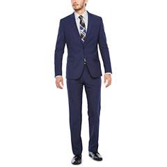 JF J. Ferrar Dark Blue Texture Suit Separates-Super Slim