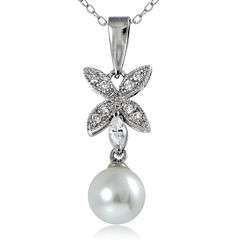 Silver Reflections™ Cubic Zirconia and Simulated Pearl Silver-Plated Flower Pendant Necklace