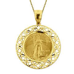 14K Yellow Gold 1/10 oz. Liberty Dollar Coin Pendant Necklace