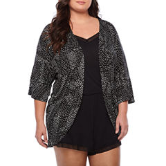 Ambrielle Knit Robe and Romper Short Pajama Set - Plus