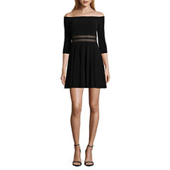 City Triangle 3/4 Sleeve Party Dress-Juniors