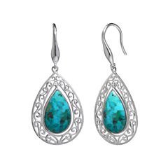 Enhanced Turquoise Filigree Sterling Silver Teardrop Earrings