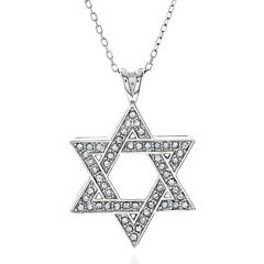 Crystal-Accent Sterling Silver Star of David Pendant Necklace