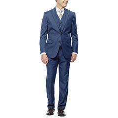 Stafford® Travel Wool Blend Stretch Mid Blue Suit Separates - Slim Fit