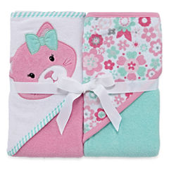 Okie Dokie Girl Hood Towel 2 Pack Set Pink Cat
