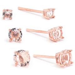 Silver Treasures 3 Pair Pink 14K Earring Sets