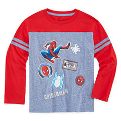 Long Sleeve Crew Neck Spiderman T-Shirt-Preschool Boys