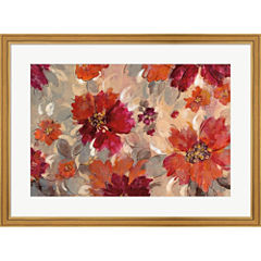 Magenta And Coral Floral Framed Print Wall Art