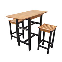 Northbeam Folding  3-pc. Kitchen Island Table and Stool Set