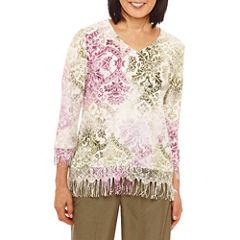 Alfred Dunner Palm Desert Fringe Sweater