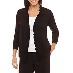 Sag Harbor Ruffles 3/4 Sleeve Cardigan