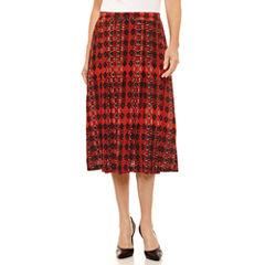 Sag Harbor Ruffles Geometric Woven Pleated Skirt
