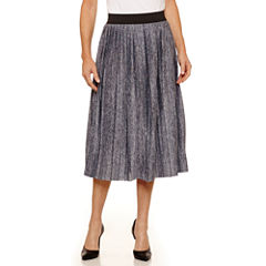 Sag Harbor Ruffles Solid Knit Pleated Skirt