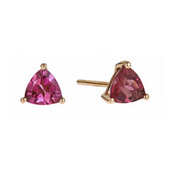 LIMITED QUANTITIES  Trillion-Cut Genuine Pink Tourmaline Earrings