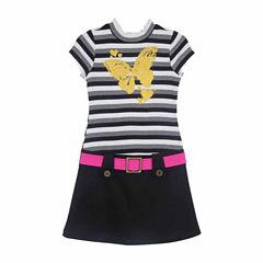 Lilt Short Sleeve Stripe Mock Neck Dress - Girls' 7-12