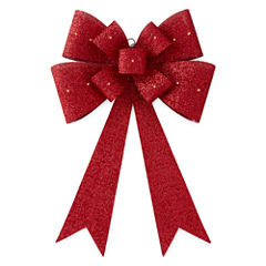 North Pole Trading Co. Christmas Cheer Red Outdoor Bow