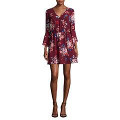 Trixxi Elbow Sleeve Floral Wrap Dress-Juniors