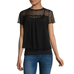 Fire Short Sleeve Crew Neck Mesh Blouse-Juniors