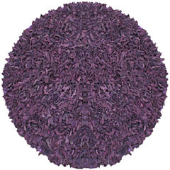 St. Croix Trading Pelle Leather Shag Round Rugs