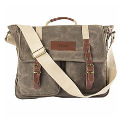 Personalized Waxed Canvas and Leather Messenger Bag