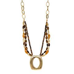ROX by Alexa Tiger's Eye & Yellow Jade Medallion Pendant Necklace